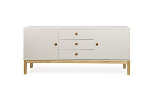 Tenzo 3565-083 Fresh Designer Sideboard Holz, warm grey / eiche, 46 x 169 x 75 cm