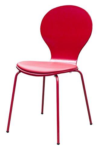 Tenzo 610-068 Flower 4-er Set, Designer Stühle, 87 x 46 x 57 cm, Schichtholz lackiert matt, Sitzkissen in Lederoptik, Untergestell Metall, lackiert, pastellrot