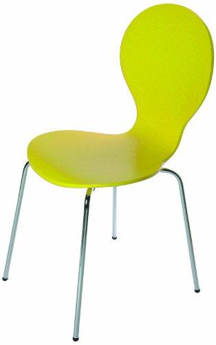 Tenzo 680-002 FLOWER 4-er Set Designer Stühle, Schichtholz lackiert, matt, Untergestell Metall, verchromt, 87 x 46 x 57 cm, gelb