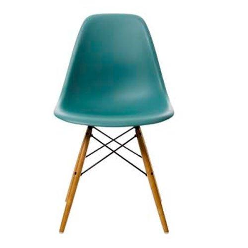 Vitra 44002300022105 Stuhl DSW Eames Plastic Sidechair Gestell Ahorn, ocean