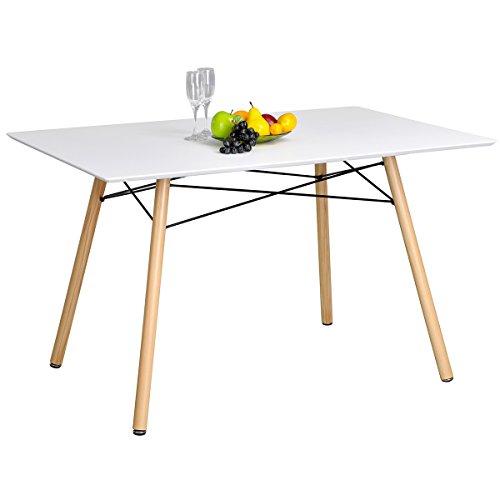 furniturer Esstisch Eames modernes Design Scandinavian weiß Retro Schreibtisch mit Holz Beine weiß