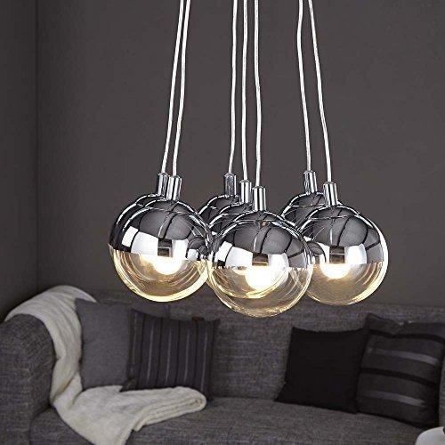 lounge-zone Pendelleuchte Pendellampe Hängeleuchte Hängelampe Leuchte Lampe TOSKANA Glas Chrome 7 Kugeln 5918