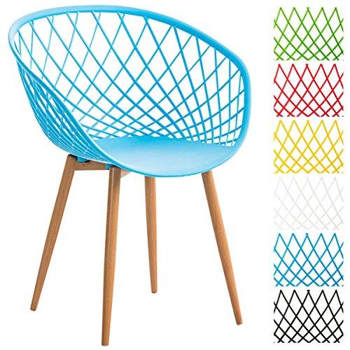 CLP Esszimmerstuhl MORA mit pflegeleichter Kunststoff-Sitzschale | Retrostuhl mit Lehne und einem Metallgestell in Holzoptik | Besucherstuhl mit Bodenschonern und einer Sitzhöhe von 46 cm Blau