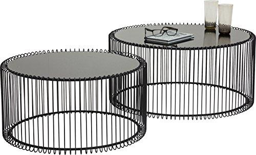 Couchtisch Wire Black 2er Set, Schwarz, runder, moderner Glastisch, großer Beistelltisch, Kaffeetisch, Nachttisch, (H/B/T) 30,5xØ60cm & 33,5xØ69,5cm