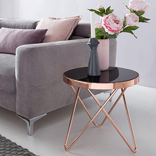 Design Couchtisch ROUND MINI ø 42 cm Rund Glas Kupfer   Lounge Beistelltisch verspiegelt   Moderner Wohnzimmertisch   Glastisch Sofatisch Tisch für Wohnzimmer