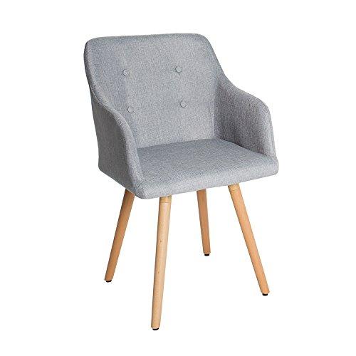 Design stuhl grau scandinavia meisterst ck buche gestell hellgrau mit armlehne im retro trend - Stuhl mit armlehne grau ...