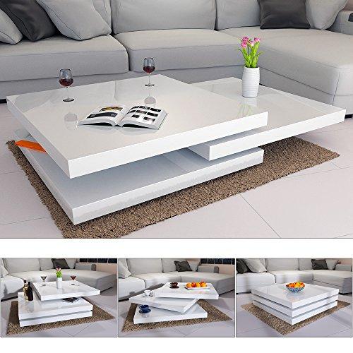 Deuba® Couchtisch Hochglanz weiß   360° drehbar   Cube Design   modern   80 x 80 cm - Wohnzimmertisch Beistelltisch Design Lounge Tisch Sofatisch