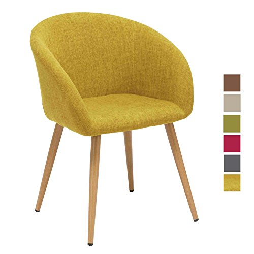 Esszimmerstuhl aus Stoff (Leinen) Gelb Retro Design Stuhl mit Rückenlehne Metallbeine Holzoptik DH0011