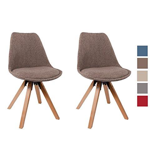 Stuhl Esszimmerstühle Braun Küchenstühle !2 er Set! FARBAUSWAHL mit Holzbeinen Sitzkissen Esszimmerstuhl RETRO Stoffbezug TYP9-518EM
