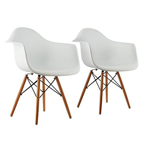 oneConcept Bellagio • Schalenstuhl • Designstuhl • Retro-Stuhl • 2er-Set • 70er Jahre Retro Look • breite Sitzfläche • hochwertige Hartplastik-Schale • Birkenholz-Beine • zeitlos • komfortabel • weiß