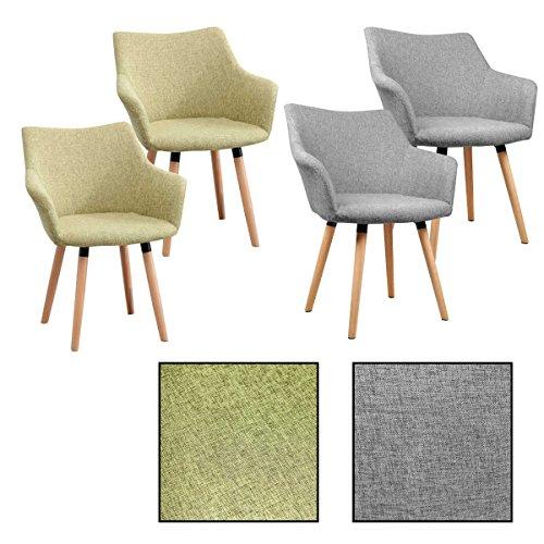 2/4/6/8x Retro - Esszimmerstuhl Tomke, Stühle, Stuhl, Küchenstuhl, Esszimmerstühle, Grau, Grün (2 Stück, Grau)