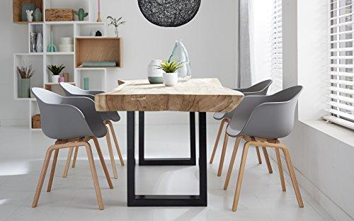 Romeo Wohnzimmerstuhl Esszimmerstuhl 2er-set Grau Polypropylen und Buchenholz retro design Stuhl für Büro Lounge Küche Wohnzimmergrey (Grau)