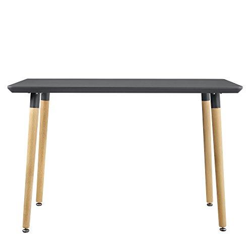 [en.casa] Esszimmertisch für 4 Stühle grau [120x70cm] Esszimmer Essgruppe Wohnzimmer