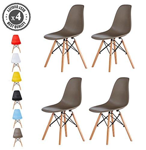 MCC Retro Design Stühle LIA im 4er Set, Eiffelturm inspirierter Style für Küche, Büro, Lounge, Konferenzzimmer etc., 6 Farben, KULT (grau)