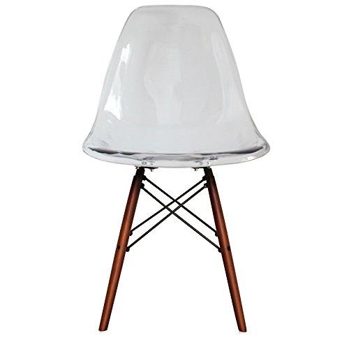 Retro-Stuhl, Kunststoff mit Holzbeinen, skandinavischer Stil, Beine aus Walnussholz, farblos, H: 82cm W: 46cm D: 50cm. Seat Height: 44cm