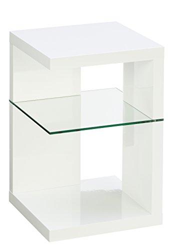 HomeTrends4You 516250 Beistelltisch/Nachttisch Domingo, 40x60x40cm, weiß Hochglanz