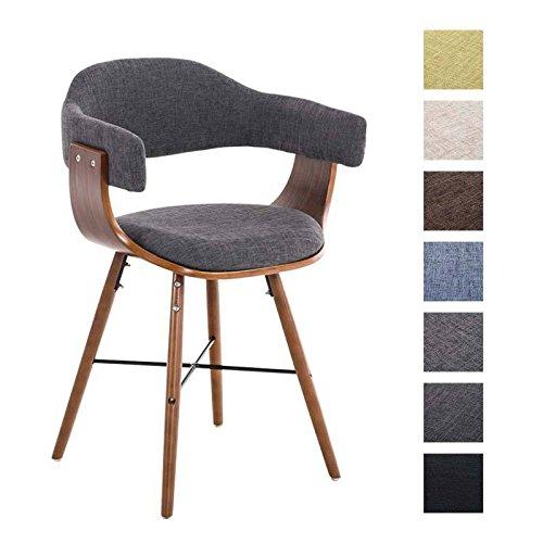 CLP Retro Esszimmer-Stuhl BARRIE V2 Stoff, Holzgestell walnuss, Gastro-Stuhl mit Armlehne, gepolstert, modern Hellgrau