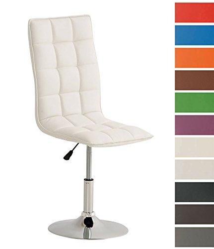 CLP Esszimmerstuhl PEKING mit hochwertiger Polsterung und Kunstlederbezug | Moderner Loungesessel mit Metallgestell in Chrom-Optik | Höhenverstellbarer Polsterstuhl mit drehbarer Sitzfläche | In verschiedenen Farben erhältlich Weiß