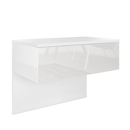 Nachttisch Nachtkonsole Sleep, Korpus in Weiß matt / Front und Seiten in Weiß Hochglanz