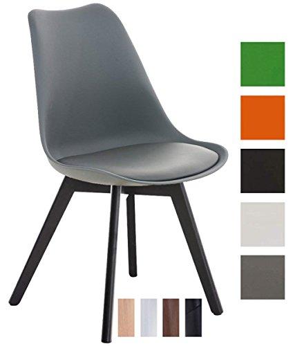 CLP Esszimmerstuhl BORNEO mit Kunststoffsitzschale und Kunstlederbezug | Polsterstuhl mit Holzgestell und einer Sitzhöhe von: 47 cm | In verschiedenen Farben erhältlich Grau, Gestellfarbe: Schwarz