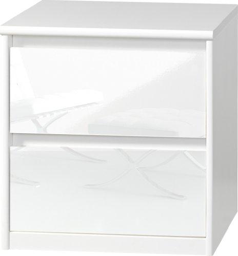 CS Schmalmöbel 75.185.012/01 Grifflose Boxspring Nachtkommode Soft Plus Smart Typ 01, 45 x 55 x 58 cm, weiß/weiß hochglanz