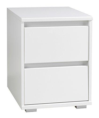 Nachtkommode Nachttisch Nachtschrank IDOLA 5   Weiß Hochglanz   2 Schubladen