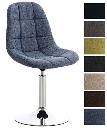 CLP Lounger EMIL mit Stoffbezug, Esszimmerstuhl mit gestepptem Sitz, Drehstuhl mit Trompetenfuß in Chromoptik, Blau