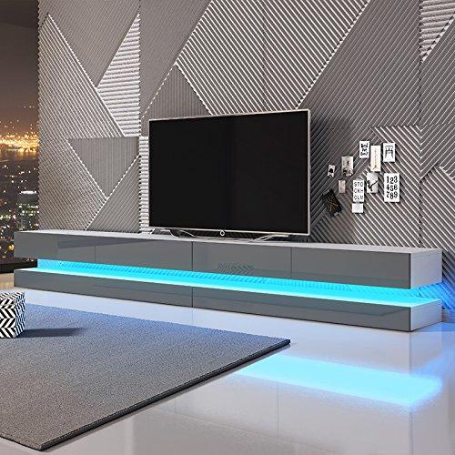 Aviator Double - TV Lowboard / TV Schrank / Hängeboard (280 cm Weiß Matt mit Hochglanzfronten in Grau, mit LEDs)