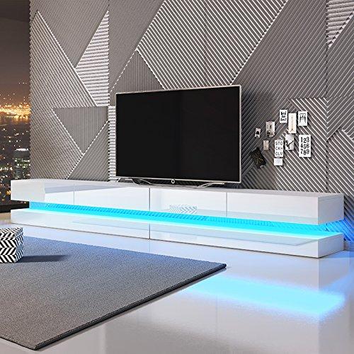 Aviator Double - TV Lowboard / TV Schrank / Hängeboard (280 cm Weiß mit Hochglanzfronten, mit LEDs)
