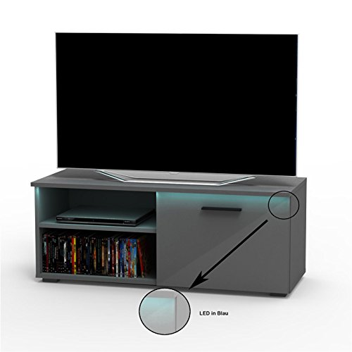 CARO-Möbel TV Lowboard Bank Fernsehtisch MALIBU in grau anthrazit Hochglanz mit LED Beleuchtung 102 cm breit, 1 Klappe
