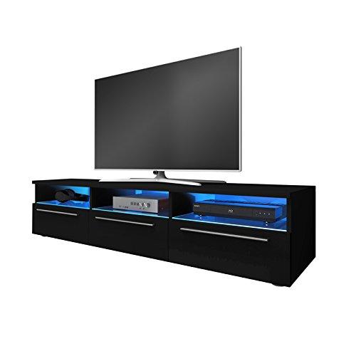 Fernsehschrank TV-Lowboard Fernsehtisch LED schwarzer Glanz GALIO