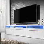 Lavello – TV Lowboard Fernsehschrank / TV Schrank mit LED in Blau (150 cm, Weiß Matt / Weiß Hochglanz)
