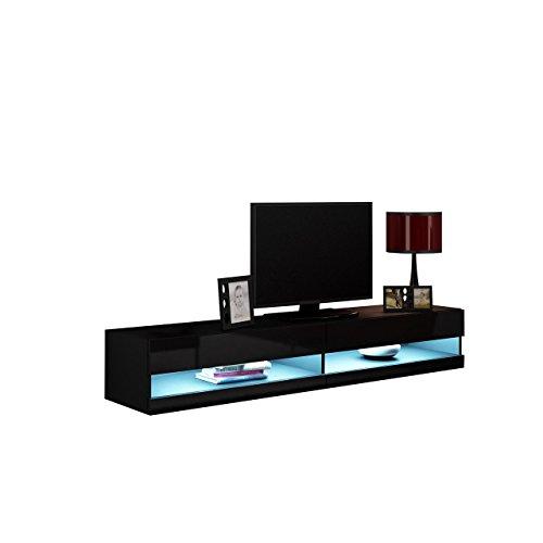 Mirjan24  TV Lowboard Vigo New 180 cm, TV Tische, TV Schrank, Fernsehschrank, Hängeschrank, Hochglanz (mit blauer LED Beleuchtung, Schwarz/Schwarz Hochglanz)