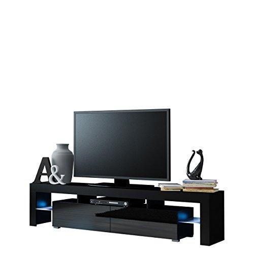 Mirjan24  TV Schrank Solo, Unterschrank mit LED, Fernsehschrank, TV Lowboard mit Grifflose Öffnen, Hochglanz Matt Wohnwand (mit blauer LED Beleuchtung, Schwarz Matt/Schwarz Hochglanz)