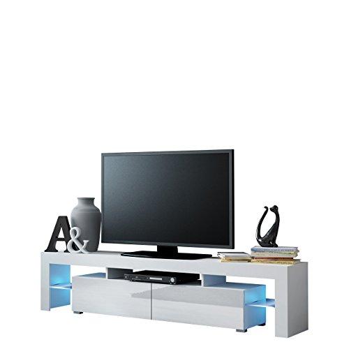 Mirjan24  TV Schrank Solo, Unterschrank mit LED, Fernsehschrank, TV Lowboard mit Grifflose Öffnen, Hochglanz Matt Wohnwand (mit blauer LED Beleuchtung, Weiß Matt/Weiß Hochglanz)
