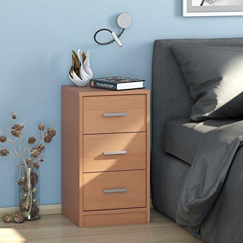 Nachtkommode MAJA MÖBEL mit 3 Schubladen / Nachttisch in Buche - 37x48x35cm Kommode