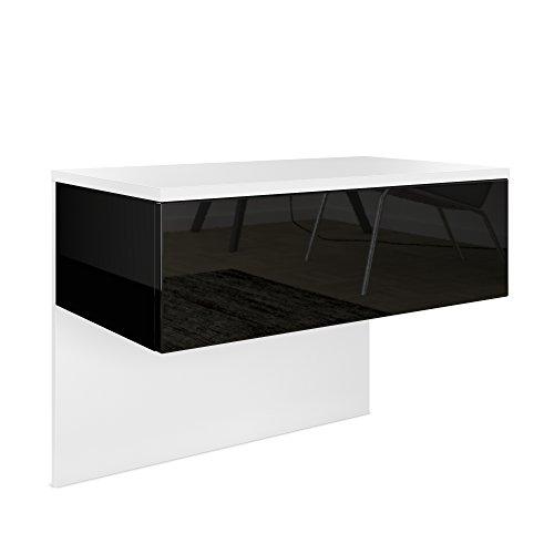 Nachttisch Nachtkonsole Sleep, Korpus in Weiß matt / Front und Seiten in Schwarz Hochglanz