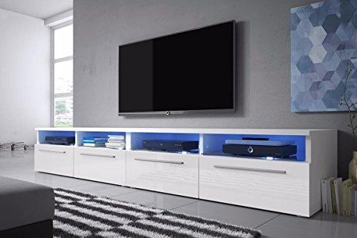 Siena Double - TV Lowboard / Schrank (200 cm, Weiß Matt / Weiß Hochglanz, LED-Beleuchtung in Blau)