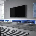 Siena Double - TV Lowboard / TV Schrank (200 cm, Weiß Matt / Grau Hochglanz, LED-Beleuchtung in Blau)