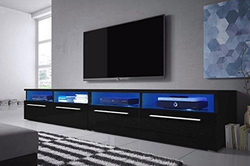 Siena - TV Lowboard / Schrank (200 cm, Schwarz Matt / Schwarz Hochglanz, LED-Beleuchtung in Blau)