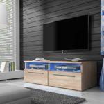 Siena - TV Lowboard / TV-Schrank (100 cm, Sonoma Eiche Matt, mit Blauer LED - Beleuchtung)
