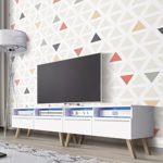 Siena Wood doube - TV Bank / TV Lowboard (200 cm, Weiß Matt, mit LED)