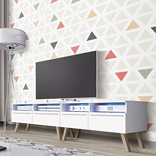 Siena Wood doube - TV Bank / TV Lowboard (200 cm, Weiß Matt, mit LED)