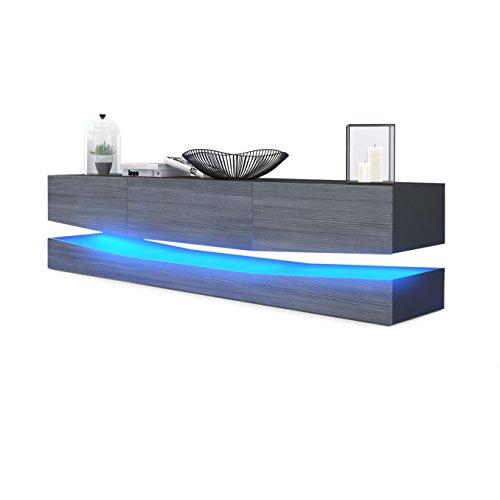 TV Board Lowboard City, Korpus in Schwarz matt / Fronten in Avola-Anthrazit inkl. LED Beleuchtung