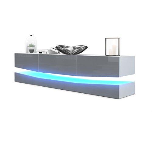 TV Board Lowboard City, Korpus in Weiß matt / Fronten in Grau Hochglanz inkl. LED Beleuchtung