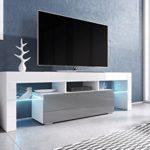 TV Board 'Soro' Hochglanz Lowboard Cube Matt Hifi Fernseherschrank mit LED, Farbe:weiß matt / grau Hochglanz