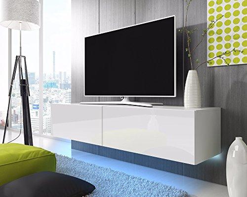 TV Schrank Lowboard Hängeboard SIMPLE mit LED Blau (Weiß Matt / Weiß Hochglanz 200 cm)