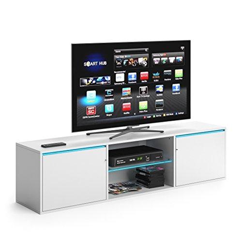 VICCO TV Lowboard PEGASUS 160cm Weiß - Fernsehtisch Sideboard Weiss Board Schrank Regal Fernsehschrank (Weiß, mit LED Beleuchtung)