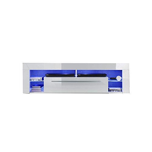 trendteam Wohnzimmer Lowboard Fernsehschrank Fernsehtisch Score Wohnen, 153 x 44 x 44 cm in Weiß Hochglanz  inklusive LED Beleuchtung in Blau