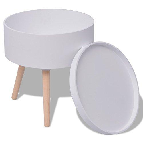 vidaXL Beistelltisch Couchtisch Telefontisch Wohnzimmer Retro Design rund weiß